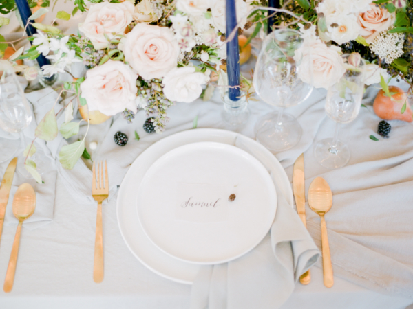 Gold Flatware with White China