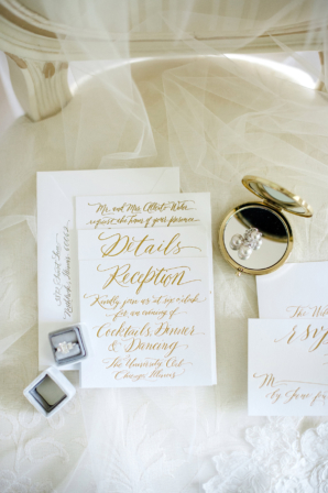 Gold Letterpress Wedding Invitations