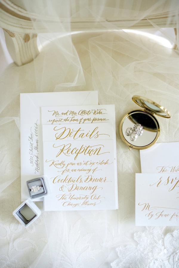 Gold Letterpress Wedding Invitations