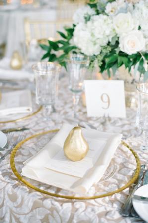 Gold and White Elegant Wedding Place Setting