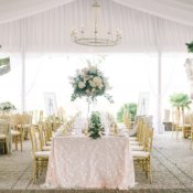 Green White Gold Tent Wedding