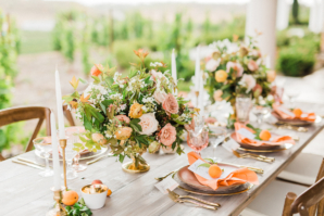 Green and Peach Wedding Table