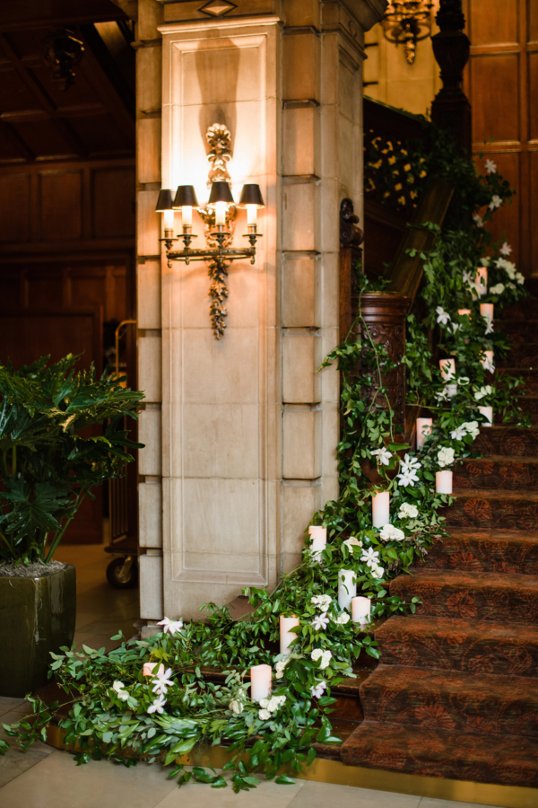 Greenery and Candles on Staircase