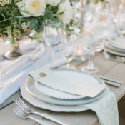 Pale Blue and Ivory Place Setting