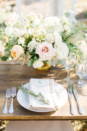 Pale Green and Pink Centerpiece