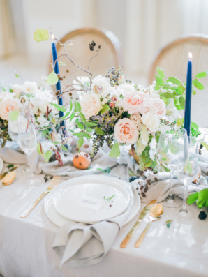 Pale Pink Gray and Blue Wedding Table