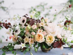 Peach and Burgundy Wedding Flowers 1