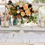 Peach and Burgundy Wedding Flowers