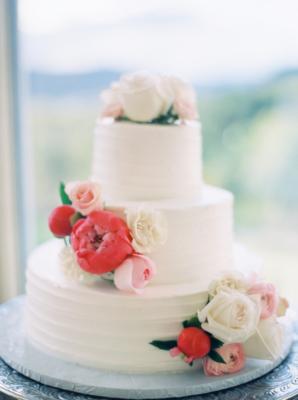 Petite Wedding Cake with Peonies