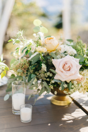 Pink Rose and Greenery Centerpiece