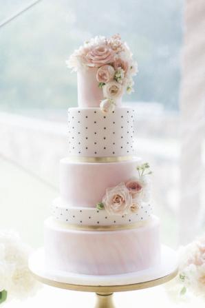 Pink and Polka Dot Wedding Cake