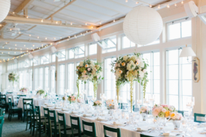 Reception with Pink and White Centerpieces