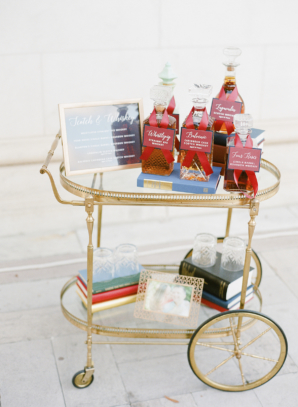 Red White and Blue Bar Cart at Wedding