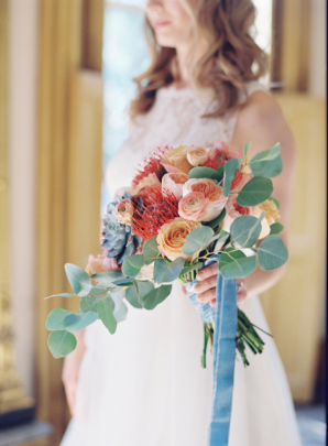 Red and Peach Bridal Bouquet