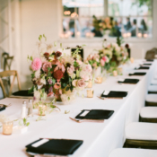 Tabletop with Berry and Pink Centerpieces