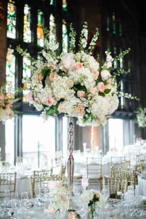 Tall Hydrangea and Rose Centerpiece