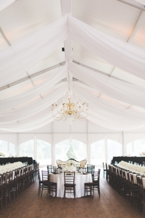 Tented White and Black Wedding Reception