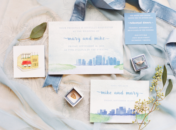 Watercolor Painted Wedding Invitations