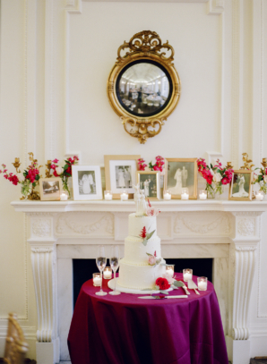 Wedding Cake Table in front of Mantel