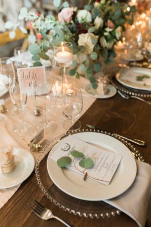 Wedding Menu with Sprig of Greenery