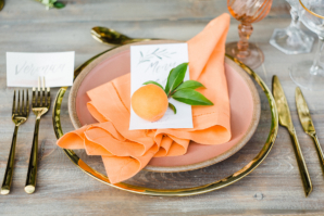Wedding Place Setting with Peaches