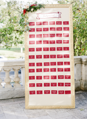 Wedding Seating Chart in Red and White