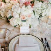 White and Pale Pink Centerpiece of Roses and Peony