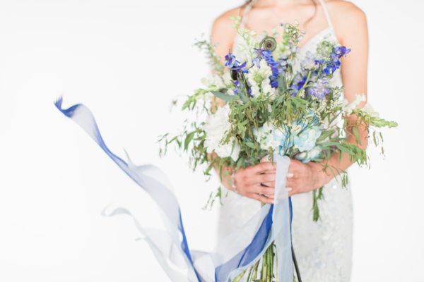 Bouquet with Blue Ribbons