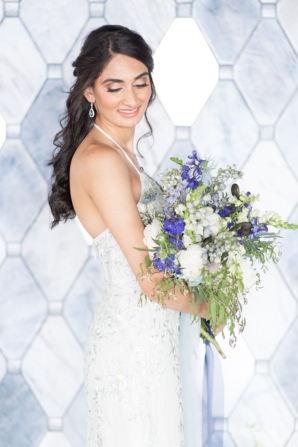 Bride in Beaded Davids Bridal Gown