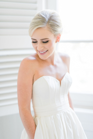 Bride in Structured Strapless Dress