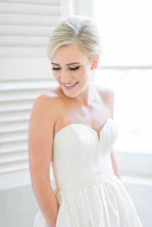 Bride in Structured Strapless Dress