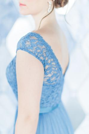 Cornflower Blue Lace Bridesmaids Dress
