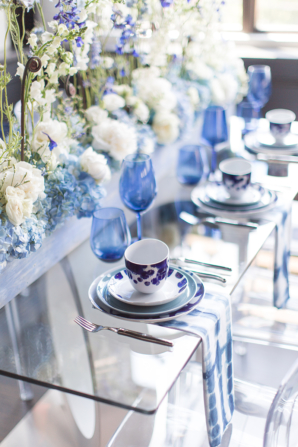 Glass Wedding Table with Blue Accents