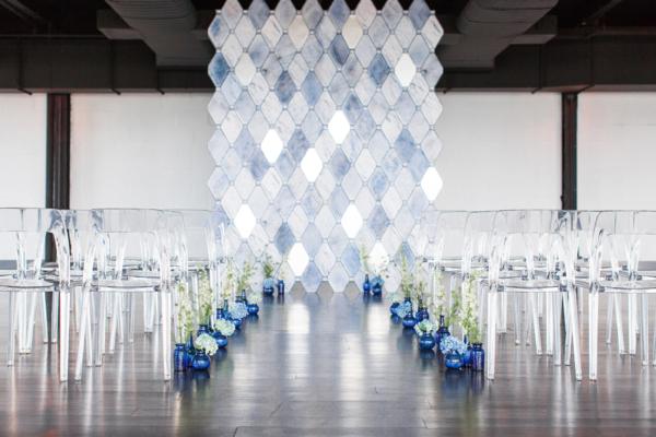 Modern Blue Loft Wedding Ceremony