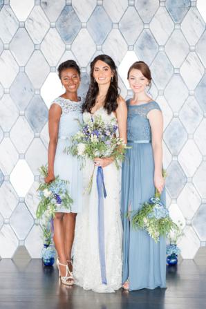Monochromatic Blue Bridal Party