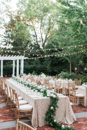 Outdoor Wedding Under String Lights