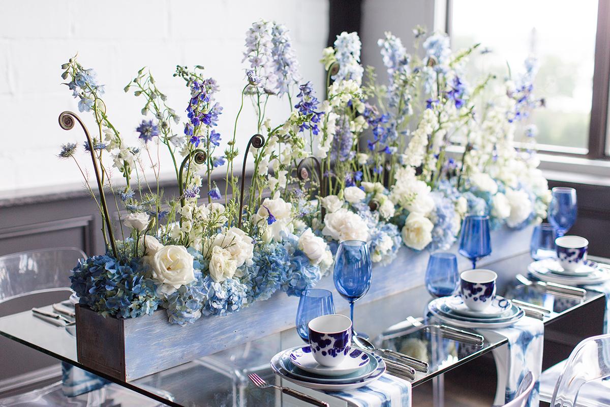 Wedding Centerpiece With Blue And White Flowers Elizabeth Anne