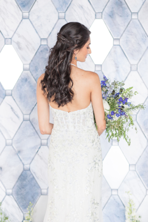 Wedding Dress with Subtle Blue Embroidery