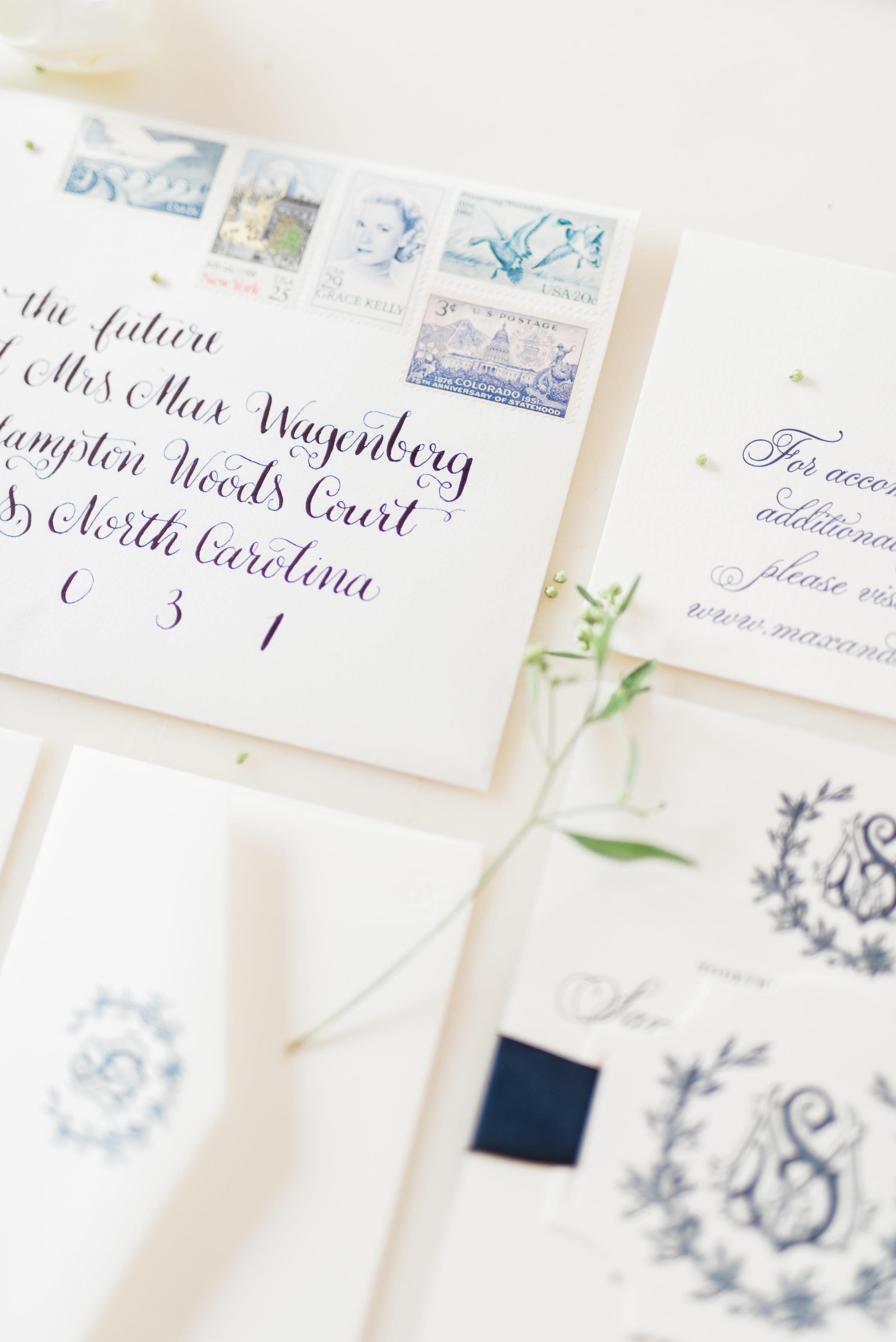 Wedding Invitations with Vintage Stamps - Elizabeth Anne Designs ...