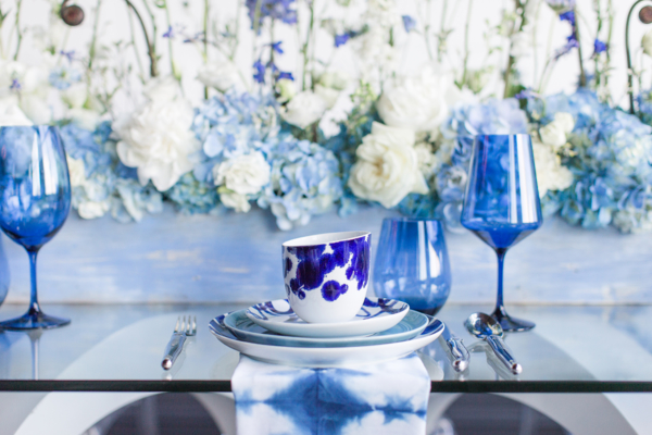 White and Blue Modern Wedding Reception