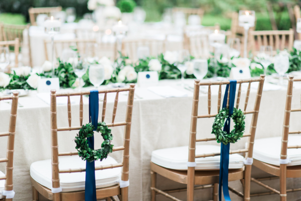 Wreaths on Wedding Chairs