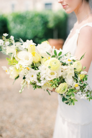 Asymmetrical White and Yellow Bouquet