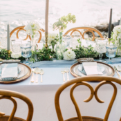 Beach Wedding Table in Blue and Green