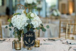 Black White Green Wedding Table