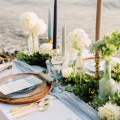 Blue Green Copper Beach Wedding Table