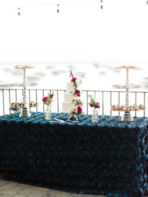 Blue and Magenta Dessert Table