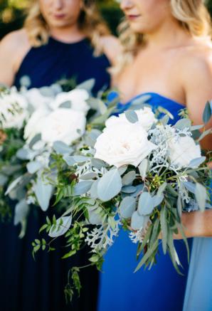 Blue and Purple Bridesmaids Dresses
