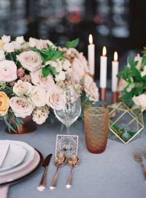 Blush Gray and Copper Wedding Table