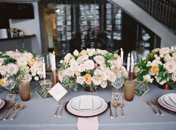 Blush and Gray Wedding Table