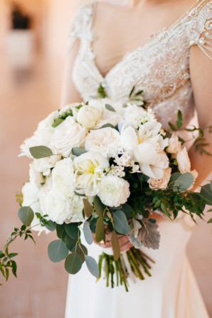 Bouquet of White Peonies and Roses